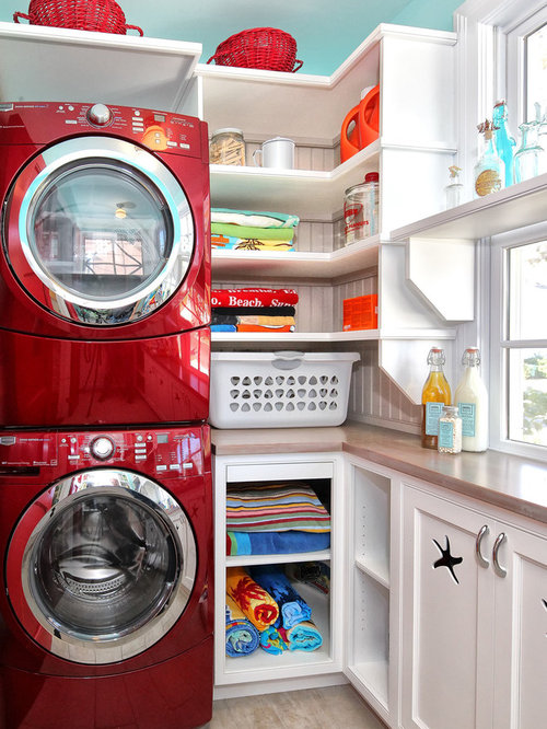 Inspiration For A Timeless Laundry Room Remodel In Philadelphia With Stacked Washer Dryer