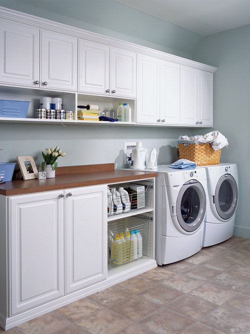 Mid-sized contemporary single-wall utility room idea in New York with ...