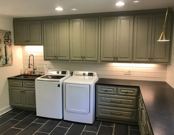 Transitional Kitchen and Laundry Room