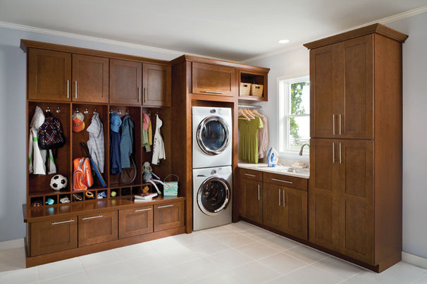Transitional Laundry Room by Shenandoah Cabinetry