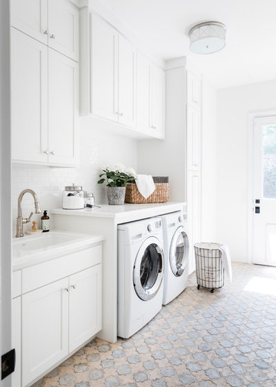 Transitional Laundry Room by Stephanie Russo Photography