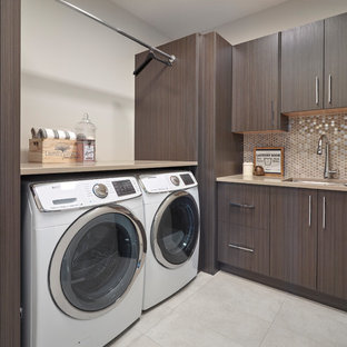Photo of a large contemporary utility room in Edmonton.