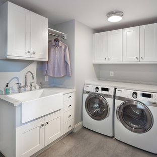 Inspiration For A Transitional Laundry Room Remodel In Dc Metro With Farmhouse Sink White