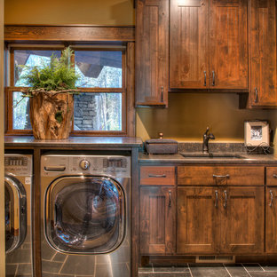 Mid Sized Mountain Style Single Wall Slate Floor And Gray Dedicated Laundry Room