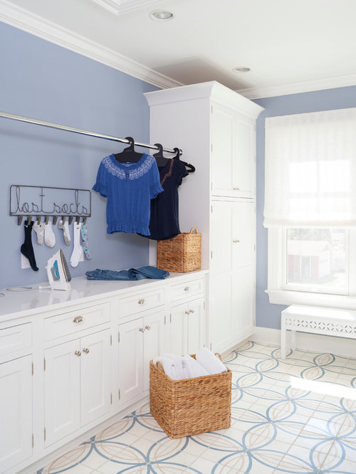 Galley Laundry Room Design Ideas, Remodels & Photos with Recessed-Panel Cabinets