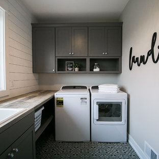 Stacked Washer Dryer Laundry Room Farmhouse