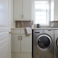 Transitional Laundry Room by Nest Design Studio
