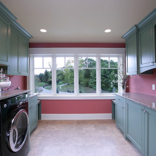 Photo of a large traditional galley utility room in Grand Rapids with recessed-panel cabinets, green cabinets, granite worktops, red walls, slate flooring and a side by side washer and dryer.
