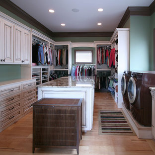 Elegant Laundry Room Photo In Charlotte With Blue Walls