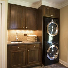 Traditional Laundry Room Washer Dryer Stack
