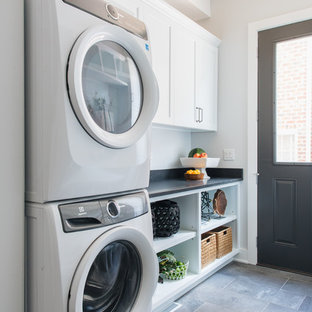 Inspiration for a coastal laundry room remodel in Chicago
