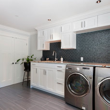 Transitional Laundry Room by Sarah Gallop Design Inc.