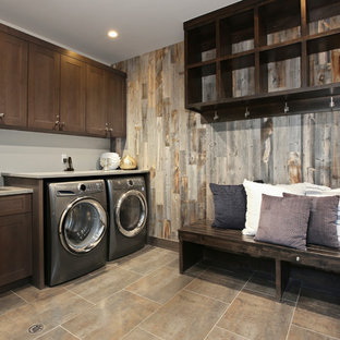 Inspiration for a rustic laundry room remodel in Denver