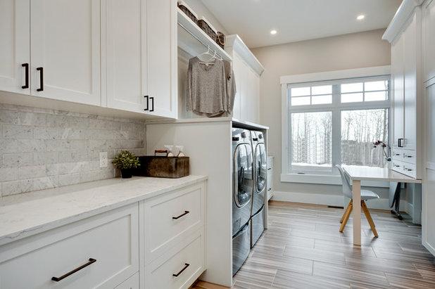 Transitional Laundry Room by Brenda Motter Interiors Ltd.
