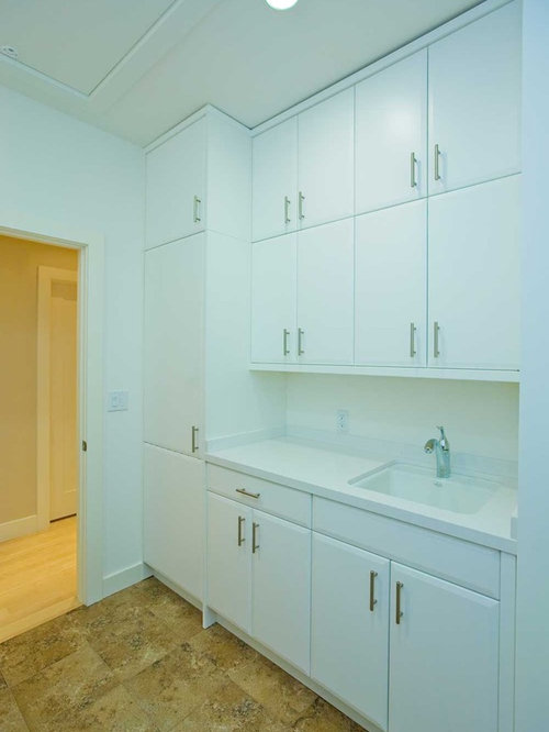 U-Shaped Laundry Room Design Ideas, Remodels & Photos with Ceramic Floors