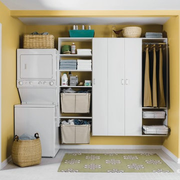 White Stacked Laundry Room