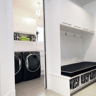 Delicieux Trendy Laundry Room Photo In Other With Flat Panel Cabinets, White Cabinets  And A