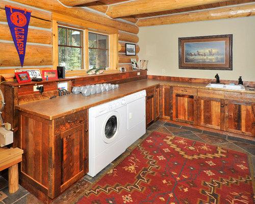 hauswirtschaftsraum mit laminat arbeitsplatte und schieferboden ideen f r waschk che. Black Bedroom Furniture Sets. Home Design Ideas