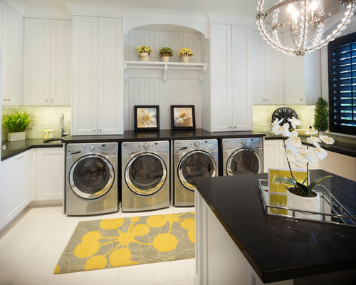 229 Laundry Room Design Photos With Recessed Panel Cabinets And White