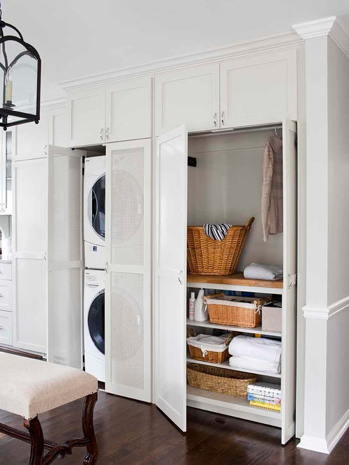 Delightful Inspiration For A Mid Sized Transitional Galley Medium Tone Wood Floor  Laundry Room Remodel In
