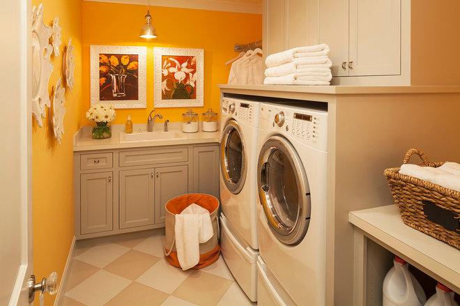 Transitional Laundry Room by Martha O'Hara Interiors