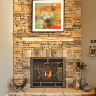 Wrought Iron faced Gas Fireplace with stack stone
