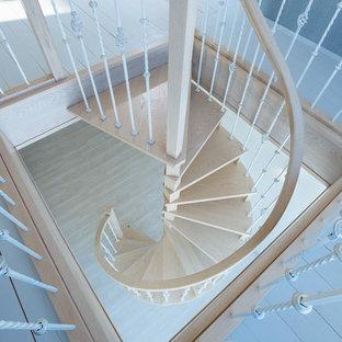 他の地域の小さい木のトラディショナルスタイルのおしゃれならせん階段 (金属の手すり) の写真