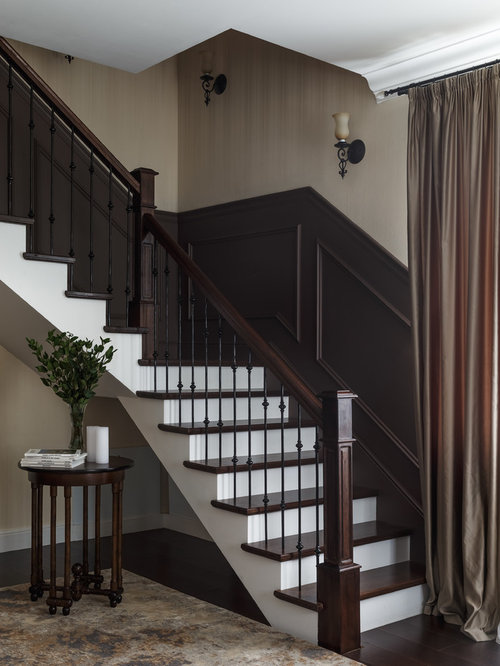 Elegant Wooden L Shaped Wood Railing Staircase Photo In Moscow