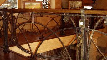 Кованые перила в стиле модерн / кованые ограждения с инкрустацией / частный дом