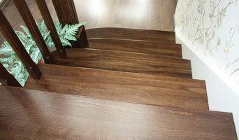 Лестница из бука с контрастной покраской