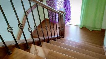 Лестница из массива бука.