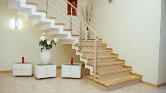Лестница с ограждением из нержавейки «YASEN»