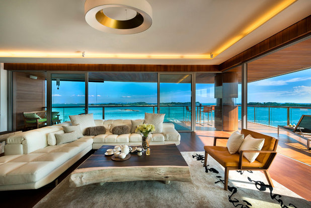 Asian Living Room by akiHAUS Design Studio