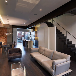 Living room - contemporary open concept dark wood floor living room idea in DC Metro with white walls, a ribbon fireplace and a wall-mounted tv
