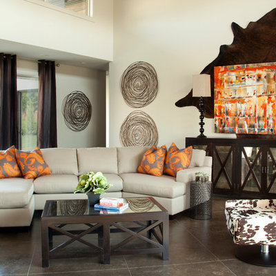 Example of an eclectic living room design in Other with white walls