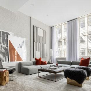 Trendy Open Concept Light Wood Floor And Beige Living Room Photo In New York With