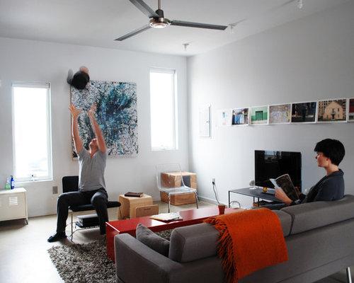 Modern Concrete Floor Living Room Idea In Philadelphia
