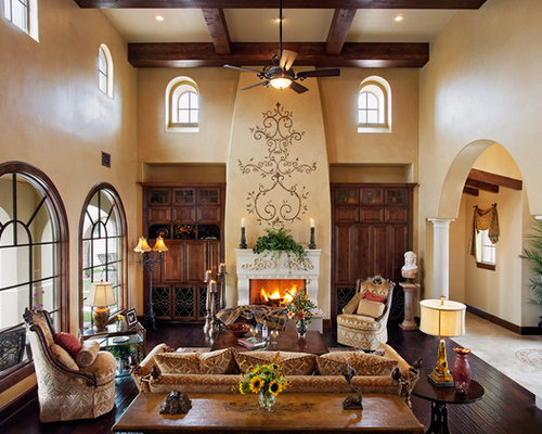Fireplace wall designs houzz for Mediterranean fireplace designs