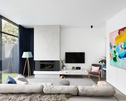 Inspiration For A Contemporary Enclosed Living Room In Melbourne With White  Walls, Concrete Floors,