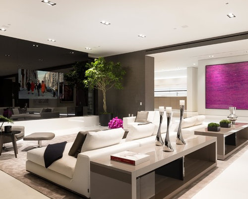 Best Contemporary Living Room with a Built-In Media Wall Design Ideas & Remodel Pictures | Houzz