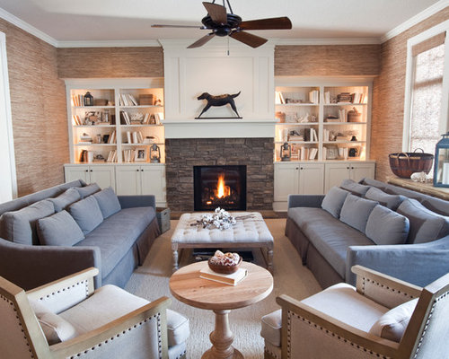 Inspiration For A Large Beach Style Living Room Library Remodel In Other With Beige Walls And