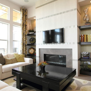 Inspiration for a medium sized contemporary formal enclosed living room in Denver with a two-sided fireplace, a tiled fireplace surround, no tv, white walls, dark hardwood flooring and brown floors.
