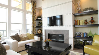 12x24 Tiled Fireplace with Glass Mosaic Accents in Englewood, CO