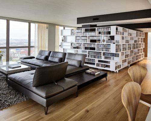 Large Danish Open Concept Light Wood Floor And Brown Floor Living Room  Library Photo In Kansas