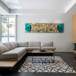 Inspiration for a midcentury modern black floor living room remodel in Sacramento with gray walls and a ribbon fireplace