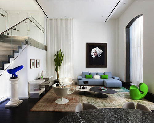 Huge Contemporary Living Room Idea In New York With White Walls