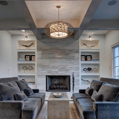 Transitional formal dark wood floor living room photo in Orlando with white walls, a standard fireplace, a stone fireplace and no tv