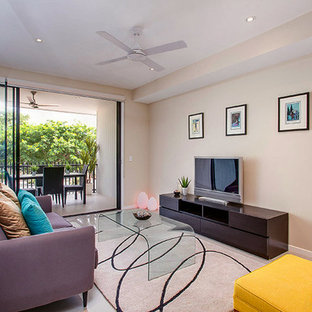 Example of a small minimalist open concept porcelain floor and white floor living room design in Brisbane with beige walls, no fireplace and a tv stand