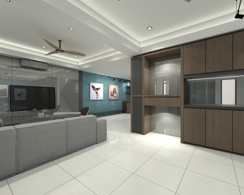 Example Of A Mid Sized Minimalist Formal And Open Concept Porcelain Floor Beige