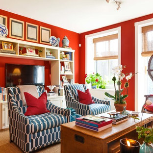 Example Of A Transitional Formal Medium Tone Wood Floor And Brown Living Room Design In